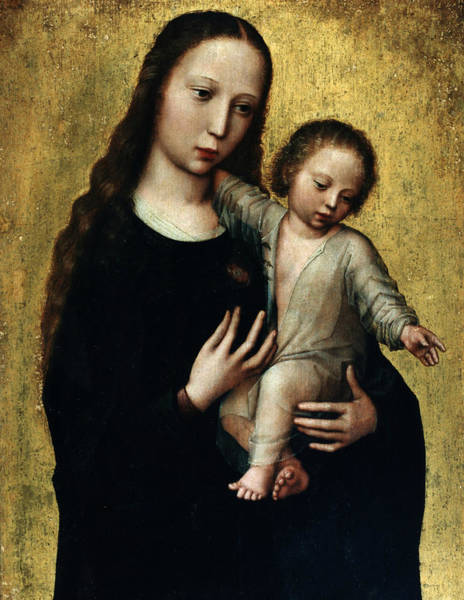Renaissance Painters Wall Art - Painting - The Virgin Mary With The Child Jesus In A Shirt by Ambrosius Benson