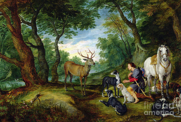 Rubens Wall Art - Painting - The Vision Of Saint Hubert by Brueghel and Rubens