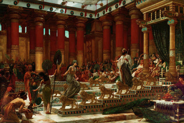 Hebrew Painting - The Visit Of The Queen Of Sheba To King Solomon by Edward Poynter