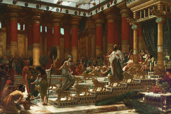 Wall Art - Painting - The Visit Of The Queen Of Sheba To King Solomon1890.jpeg by Edward Poynter