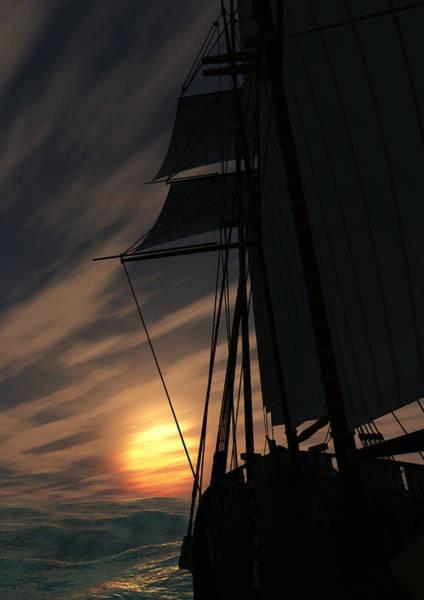 Schooner Digital Art - The Voyage Home  by Richard Rizzo