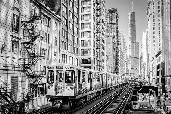 The Wabash L Train In Black And White Art Print