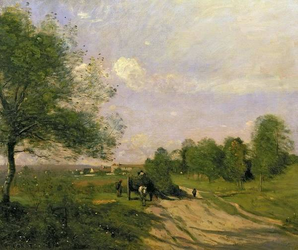 Souvenirs Painting - The Wagon by Jean Baptiste Camille Corot