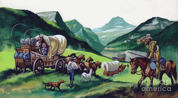 Migration Painting - The Wagons Followed The National Road To The West  by Ron Embleton