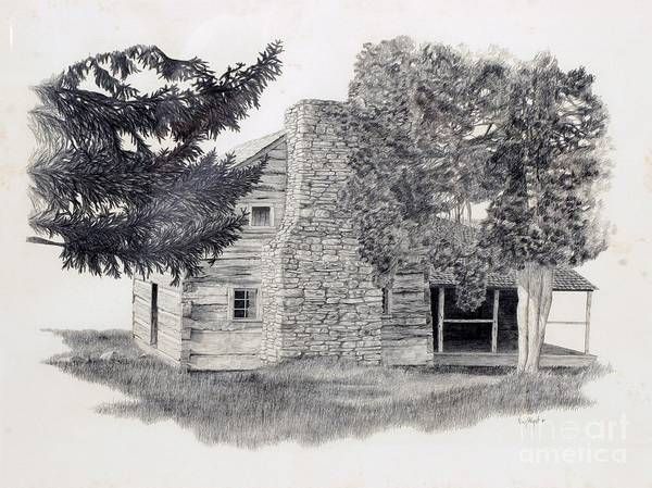 Homestead Drawing - The Walker Sisters' Cabin by Nancy Hilgert