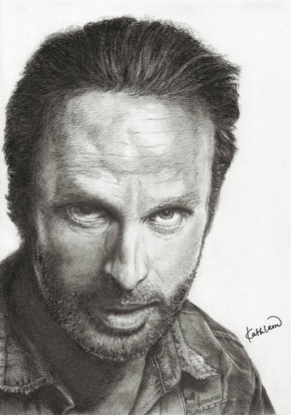 Charcoal Drawing - The Walking Dead Rick by Kathleen Wong