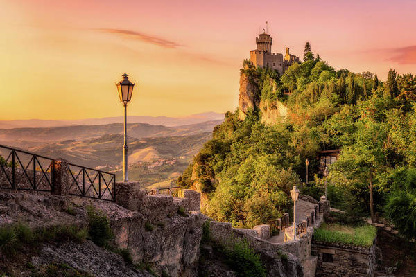 Photograph - The Walls And The Tower - San Marino by Nico Trinkhaus