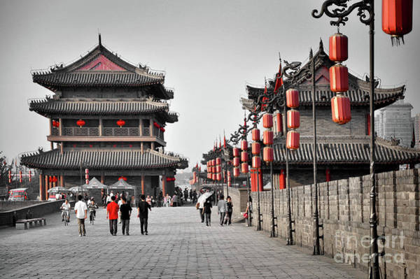 Medieval Town Photograph - The Walls Of Xian by Delphimages Photo Creations