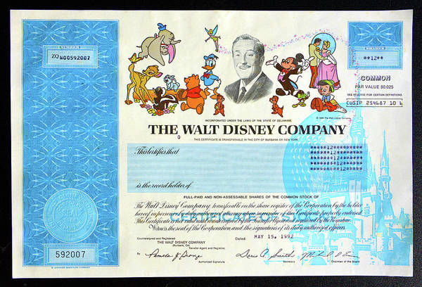 Wall Art - Photograph - The Walt Disney Company Stock Cert by David Lee Thompson