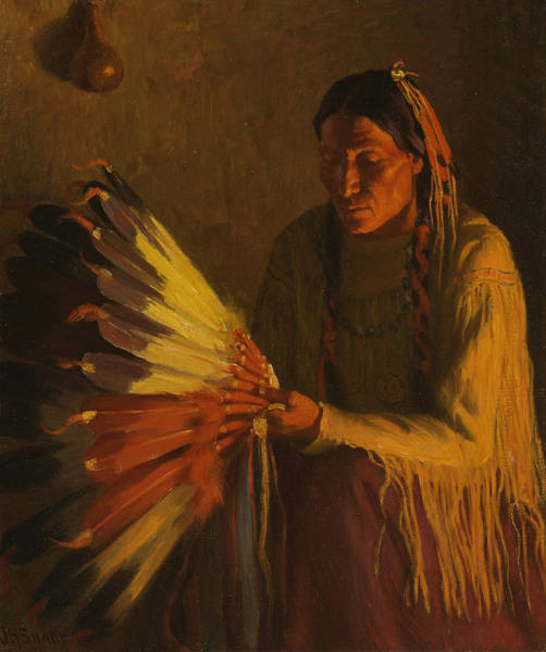 Painting - The War Bonnet by Joseph Henry Sharp