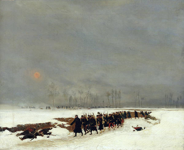 Marching Painting - The War Of 1870 An Infantry Column On Their Way To A Raid by Jean-Baptiste Edouard Detaille
