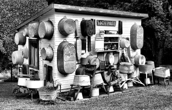 Photograph - The Wash House In Black And White by Kathy K McClellan