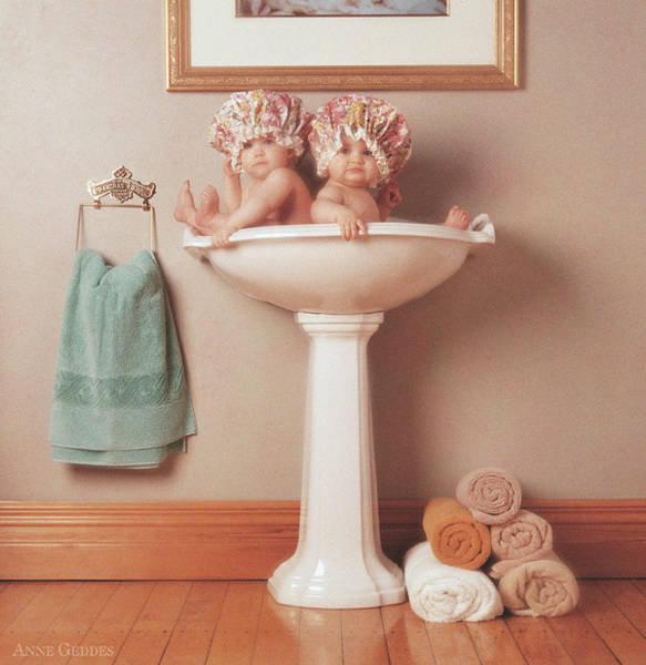 Nursery Photograph - The Washbasin by Anne Geddes