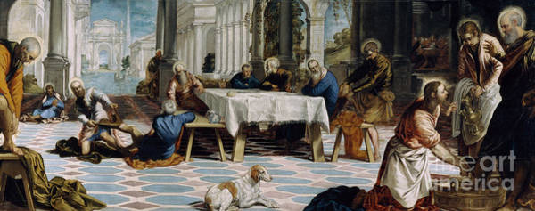 Wall Art - Painting - The Washing Of The Feet by Jacopo Robusti Tintoretto