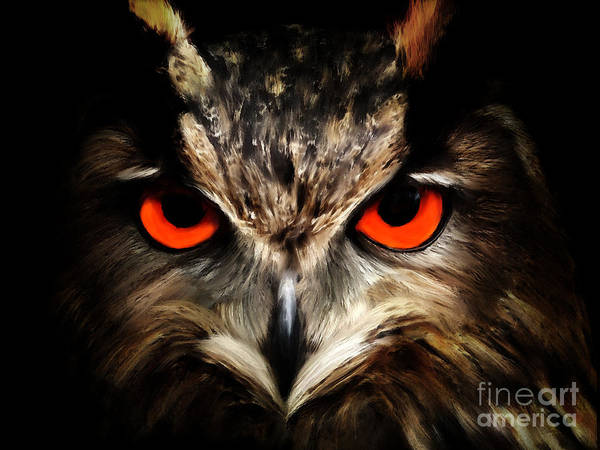 Digital Art - The Watcher - Owl Digital Painting by Tracey Everington