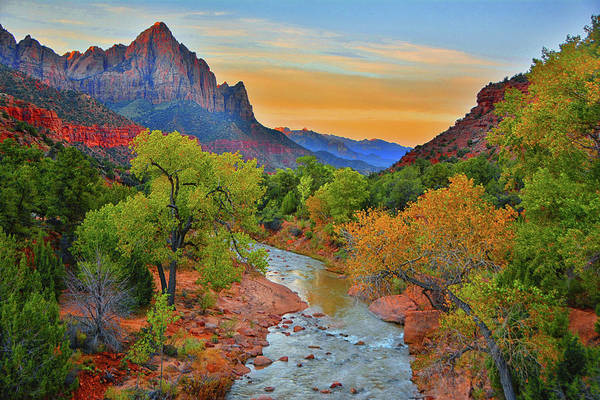 The Watchman And The Virgin River Art Print