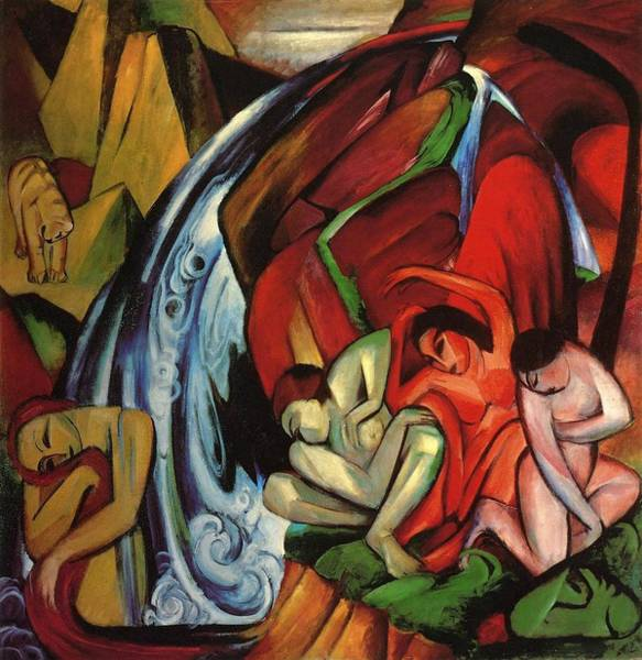 The Blue Rider Wall Art - Painting - The Waterfall by Franz Marc