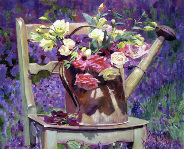 Painting - The Watering Can Bouquet by David Lloyd Glover