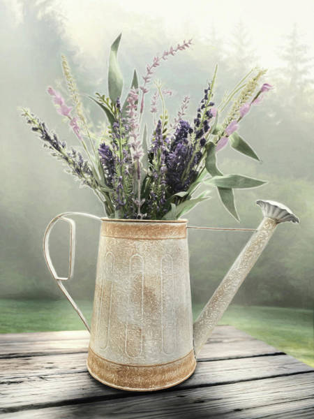 Lavender Mist Wall Art - Mixed Media - The Watering Can by Lori Deiter