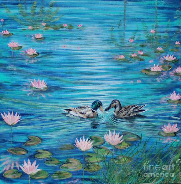 Painting - The Water Lily Pond And Two Ducks. Inspirations Collection by Oksana Semenchenko