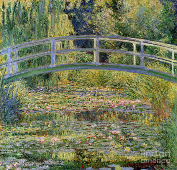 Lilies Painting - The Waterlily Pond With The Japanese Bridge by Claude Monet