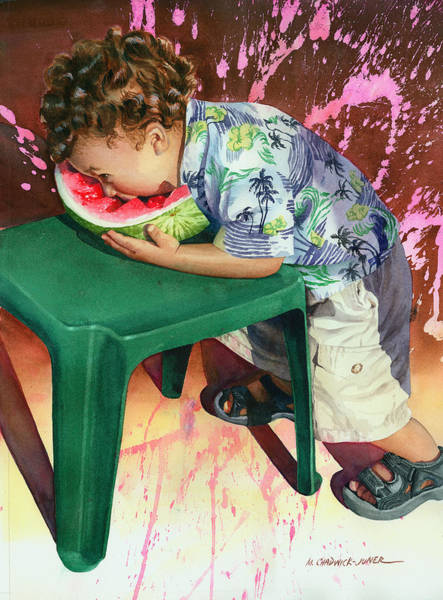 Toddler Painting - The Watermelon Eater by Marguerite Chadwick-Juner