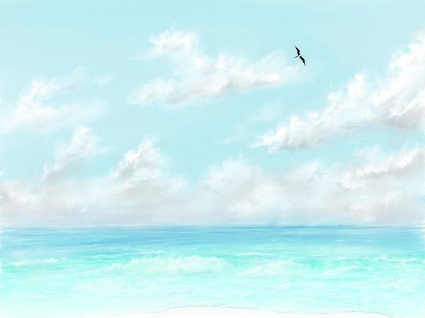 Digital Art - The Waves And Bird by Darren Cannell