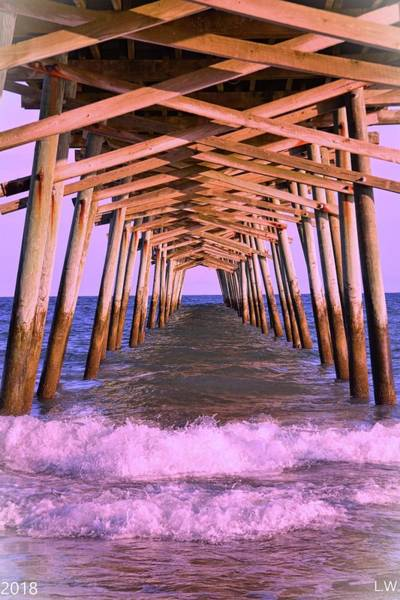 Photograph - The Waves Beneath Emerald Isle Pier by Lisa Wooten
