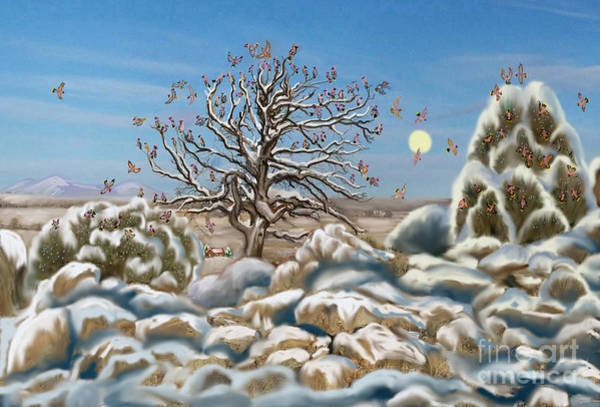 Pine Valley Digital Art - The Waxwing Tree by Dawn Senior-Trask