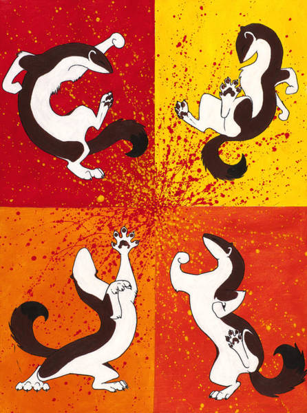 Ferrets Wall Art - Painting - The Weasel Dance by Beth Davies