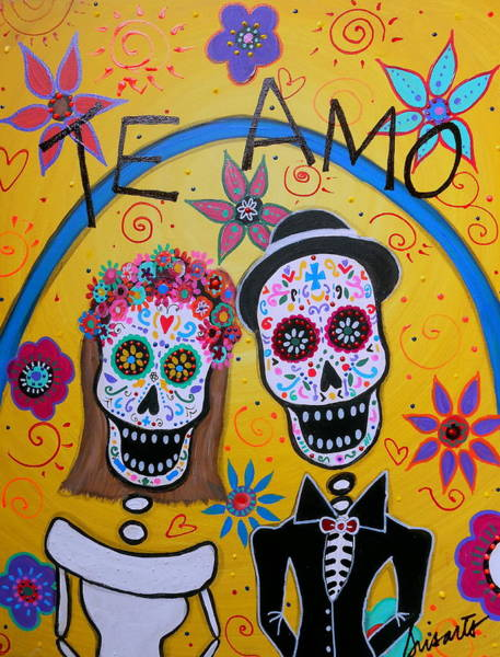 Wall Art - Painting - The Wedding Day Of The Dead by Pristine Cartera Turkus