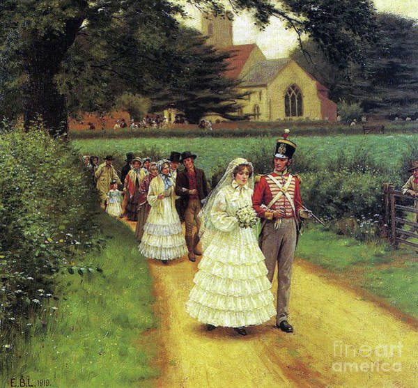 Happy Wedding Wall Art - Painting - The Wedding March by Edmund Blair Leighton