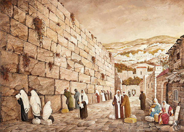 Hasidim Wall Art - Painting - The Western Wall Jerusalem by Aryeh Weiss