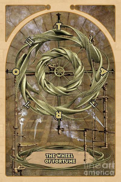 Mystic Digital Art - The Wheel Of Fortune by John Edwards
