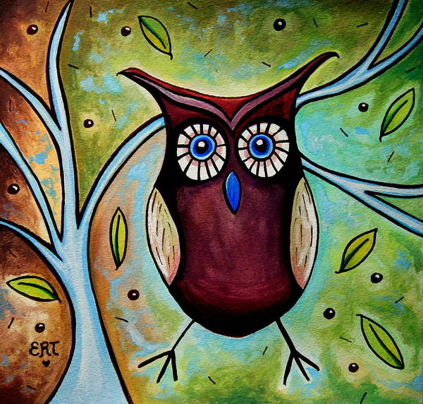 Painting - The Whimsical Owl by Elizabeth Robinette Tyndall