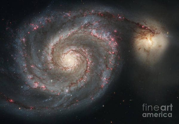 Satellite Image Wall Art - Photograph - The Whirlpool Galaxy M51 And Companion by Stocktrek Images