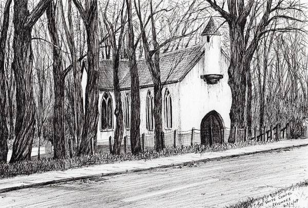 Bare Drawing - The White Chapel by Vincent Alexander Booth