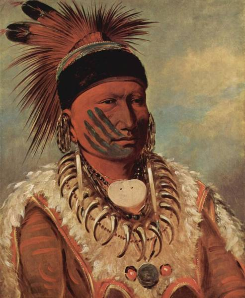 Indian Brave Digital Art - The White Cloud Head Chief Of The Iowas by George Catlin