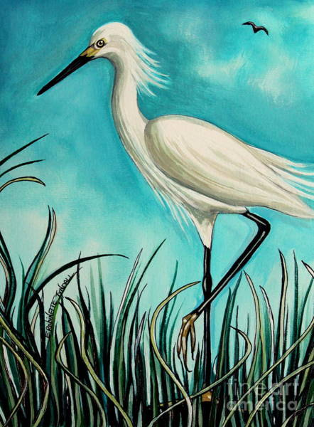Painting - The White Egret by Elizabeth Robinette Tyndall