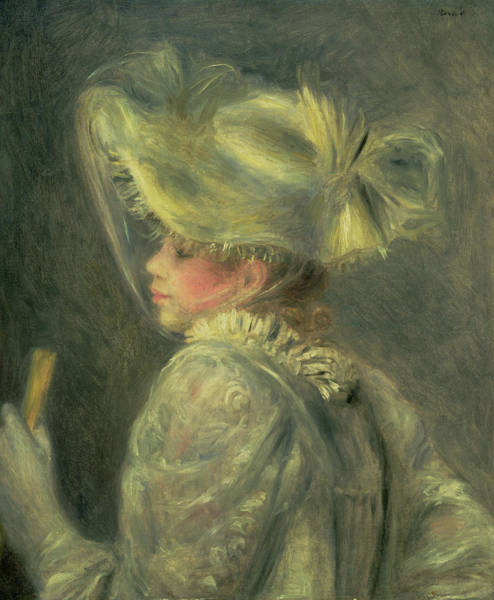 Wall Art - Painting - The White Hat by Pierre Auguste Renoir