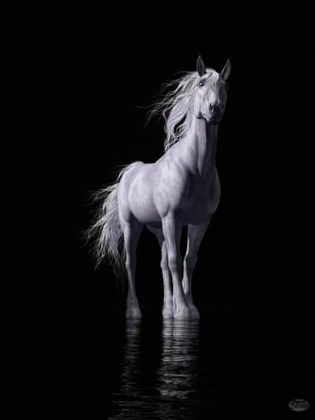 Digital Art - The White Horse by Daniel Eskridge