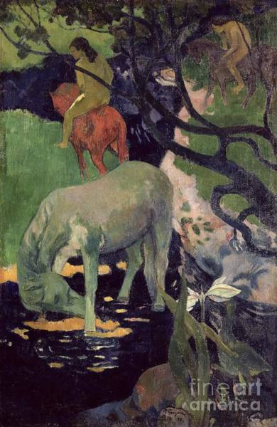 White Horse Painting - The White Horse by Paul Gauguin