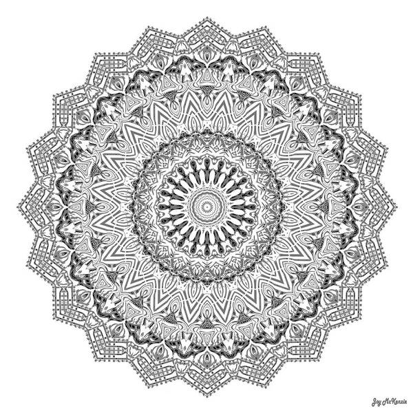 Psychedelia Digital Art - The White Mandala No. 3 by Joy McKenzie
