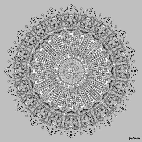 Psychedelia Digital Art - The White Mandala No. 4 by Joy McKenzie
