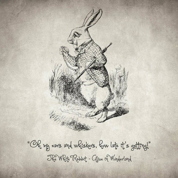 Drawing - The White Rabbit Quote by Zapista Zapista