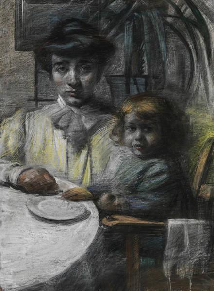 Boccioni Wall Art - Drawing - The Wife And Daughter Of Giacomo Balla by Umberto Boccioni