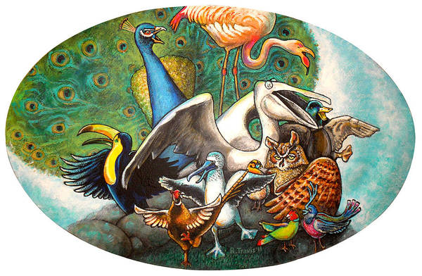 Wall Art - Painting - The Wild Birds Jamboree by Rich Travis
