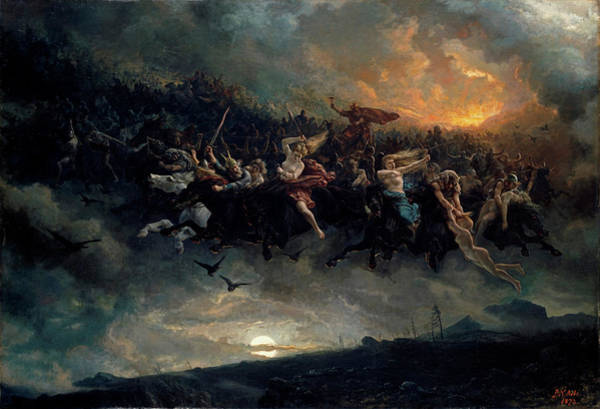 Wall Art - Painting - The Wild Hunt Of Odin by Peter Nicolai Arbo