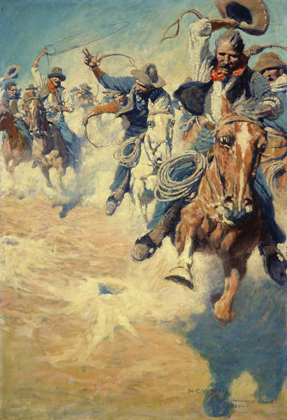 Wall Art - Painting - The Wild, Spectacular Race For Dinner by Newell Convers Wyeth