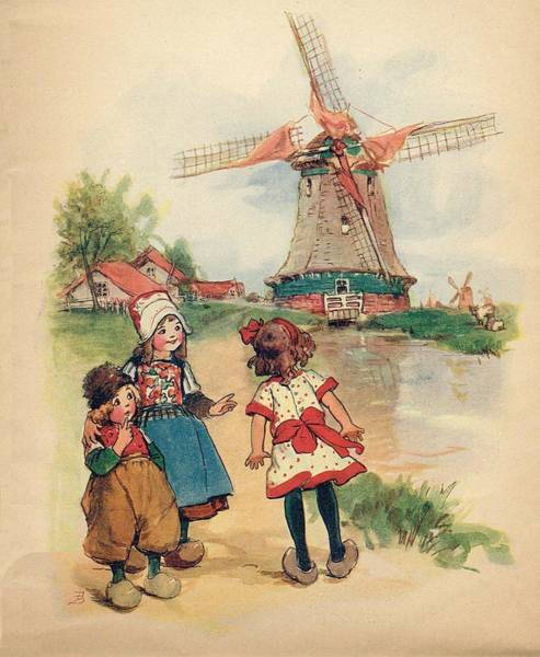 The Windmill And The Little Wooden Shoes Art Print